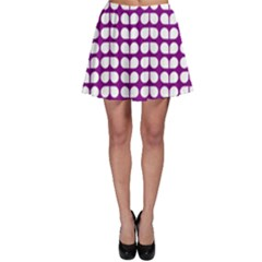 Purple And White Leaf Pattern Skater Skirts