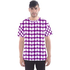 Purple And White Leaf Pattern Men s Sport Mesh Tees
