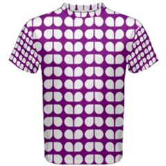 Purple And White Leaf Pattern Men s Cotton Tees