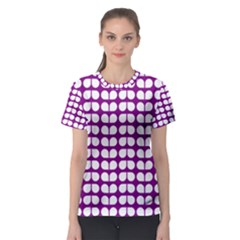 Purple And White Leaf Pattern Women s Sport Mesh Tees