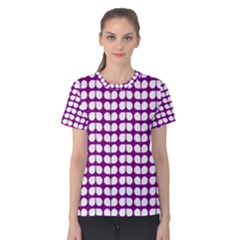 Purple And White Leaf Pattern Women s Cotton Tees