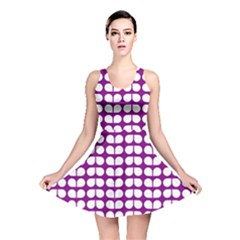 Purple And White Leaf Pattern Reversible Skater Dresses