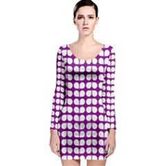 Purple And White Leaf Pattern Long Sleeve Bodycon Dresses