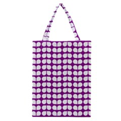 Purple And White Leaf Pattern Classic Tote Bags
