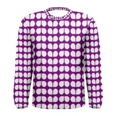 Purple And White Leaf Pattern Men s Long Sleeve T-shirts