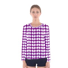 Purple And White Leaf Pattern Women s Long Sleeve T-shirts