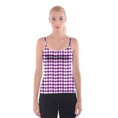 Purple And White Leaf Pattern Spaghetti Strap Tops