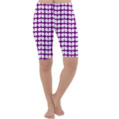 Purple And White Leaf Pattern Cropped Leggings