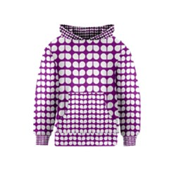 Purple And White Leaf Pattern Kid s Pullover Hoodies