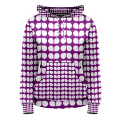 Purple And White Leaf Pattern Women s Pullover Hoodies
