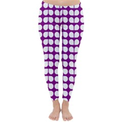 Purple And White Leaf Pattern Winter Leggings