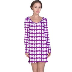 Purple And White Leaf Pattern Long Sleeve Nightdresses