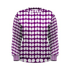 Purple And White Leaf Pattern Women s Sweatshirts