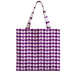 Purple And White Leaf Pattern Zipper Grocery Tote Bags