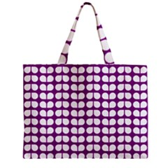 Purple And White Leaf Pattern Zipper Tiny Tote Bags