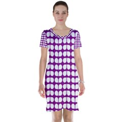 Purple And White Leaf Pattern Short Sleeve Nightdresses