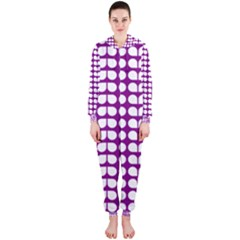 Purple And White Leaf Pattern Hooded Jumpsuit (ladies)