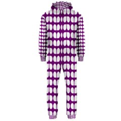 Purple And White Leaf Pattern Hooded Jumpsuit (Men)