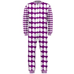Purple And White Leaf Pattern Onepiece Jumpsuit (men)