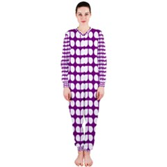 Purple And White Leaf Pattern Onepiece Jumpsuit (ladies)