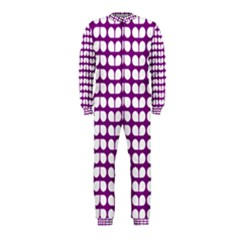 Purple And White Leaf Pattern OnePiece Jumpsuit (Kids)