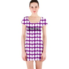 Purple And White Leaf Pattern Short Sleeve Bodycon Dresses