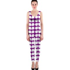 Purple And White Leaf Pattern OnePiece Catsuits