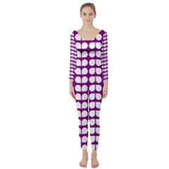Purple And White Leaf Pattern Long Sleeve Catsuit