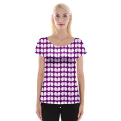 Purple And White Leaf Pattern Women s Cap Sleeve Top