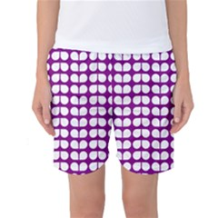 Purple And White Leaf Pattern Women s Basketball Shorts