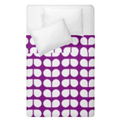 Purple And White Leaf Pattern Duvet Cover (single Size)