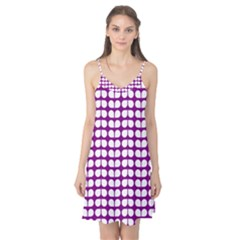 Purple And White Leaf Pattern Camis Nightgown