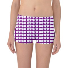Purple And White Leaf Pattern Reversible Boyleg Bikini Bottoms