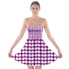 Purple And White Leaf Pattern Strapless Bra Top Dress