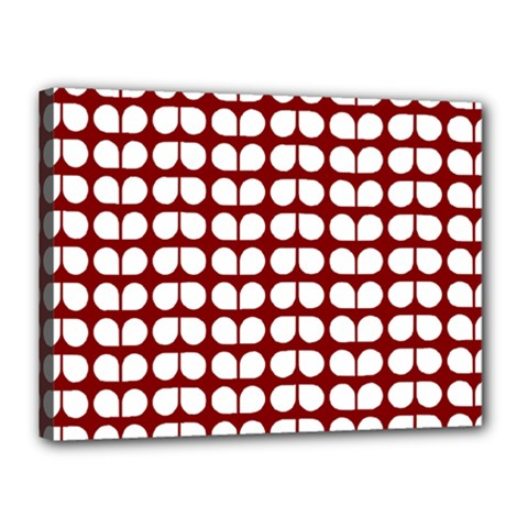 Red And White Leaf Pattern Canvas 16  X 12