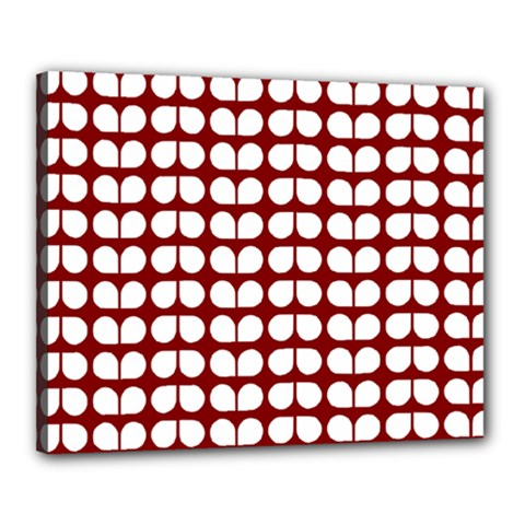 Red And White Leaf Pattern Canvas 20  X 16