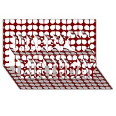 Red And White Leaf Pattern Happy Birthday 3d Greeting Card (8x4)