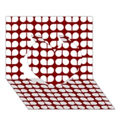 Red And White Leaf Pattern Heart 3D Greeting Card (7x5)