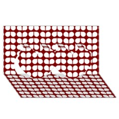 Red And White Leaf Pattern Twin Hearts 3D Greeting Card (8x4)