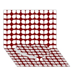 Red And White Leaf Pattern Heart Bottom 3D Greeting Card (7x5)
