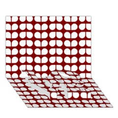 Red And White Leaf Pattern LOVE Bottom 3D Greeting Card (7x5)