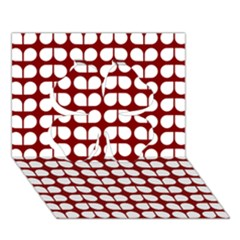 Red And White Leaf Pattern Clover 3D Greeting Card (7x5)