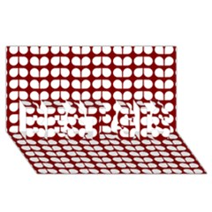 Red And White Leaf Pattern Best Sis 3d Greeting Card (8x4)