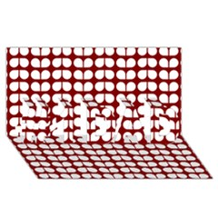 Red And White Leaf Pattern #1 Dad 3d Greeting Card (8x4)