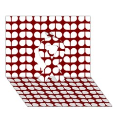 Red And White Leaf Pattern Ribbon 3d Greeting Card (7x5)