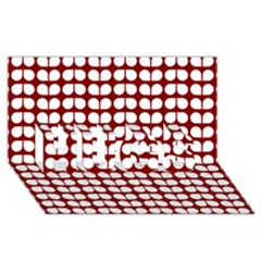 Red And White Leaf Pattern Hugs 3d Greeting Card (8x4)