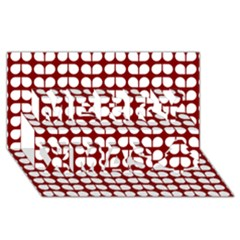 Red And White Leaf Pattern Merry Xmas 3D Greeting Card (8x4)