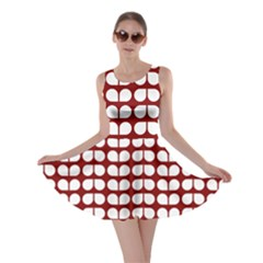 Red And White Leaf Pattern Skater Dresses