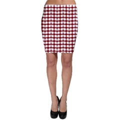 Red And White Leaf Pattern Bodycon Skirts