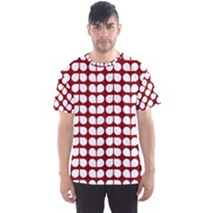 Red And White Leaf Pattern Men s Sport Mesh Tees